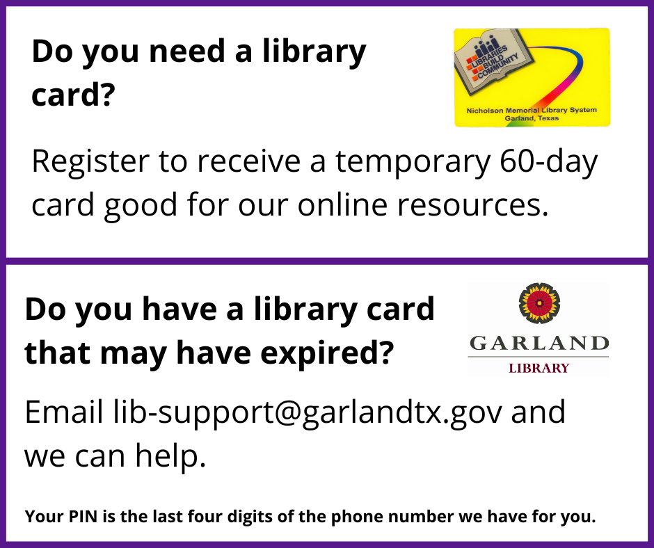 Picture of a yellow Garland Library card with text asking if people have a card and includes the lib Opens in new window